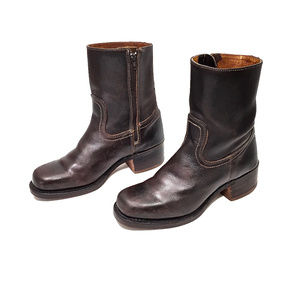 FRYE Dark Brown Leather Campus Zip Short Boots